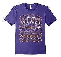October 1992 Man Myth Legend 28th Birthday 28 Years Old Shirts Purple