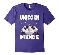 Unicorn Mode Rainbow Stars Hustle Muscle Work Party Shirts Purple