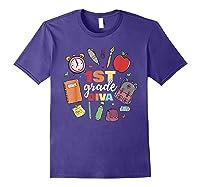 1st Grade Diva Girls First Day Of School Shirts Purple