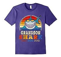 Vintage Grandson Shark T-shirt Birthday Gifts For Family Purple