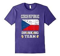 Czech Republic Drinking Team Funny Beer T Shirt Purple