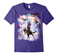 Laser Eyes Space Cat On Dinosaur - Rainbow T-shirt Purple