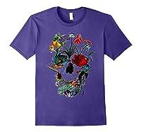 Skull Flowers Tulip Sugar Skull Tree Floral Skull Rose T-shirt Purple