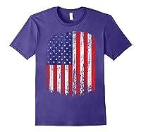 Distressed American Flag, Patriotic Shirts Purple