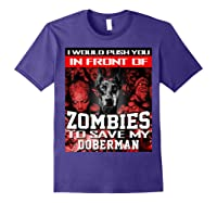 In Front Of Zombies To Save My Doberman Halloween Saying T-shirt Purple