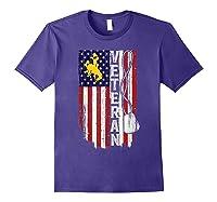 Wing Cow Veteran Veteran Flag Apparel Shirts Purple