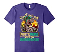 Don\\\'t Mess With Auntiesaurus T Rex Aunt Family Costume T-shirt Purple