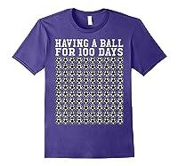 Soccer Ball 100 Days Of School Shirt Player Tea Boy Gift Purple