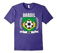 Brazilian 2018 Football Brazil Soccer Fan T-shirt Purple