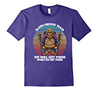 Sloth Hiking Team We Will Get There Retro Vintage Shirts Purple