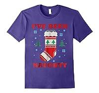 Naughty & Nice Matching T-shirts, Ugly Christmas Sweater #1 Purple