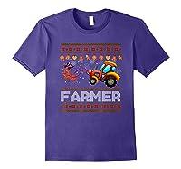 Tractors Farmer Christmas Funny Farming Xmas Gift Shirts Purple