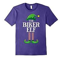 Biker Elf Matching Family Group Christmas Party Pajama T-shirt Purple