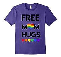 Free Mom Hugs Rainbow Heart Lgbt Pride Month Shirts Purple