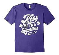 Saint Patrick S Day Kiss Me I M A Runner Funny T Shirt Purple