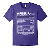Writer Facts Storyteller Nutrition Information T Shirt Purple