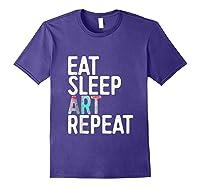 Eat Sleep Art Repeat T Shirt Funny Artist Creative Gift Tank Top Purple