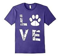 Love Animal Pet Dog Cat Paw Valentine S Day Funny T Shirt Purple