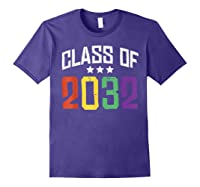 Class Of 2032 Color Stars Grow With Me Kindergarten Gift Shirts Purple