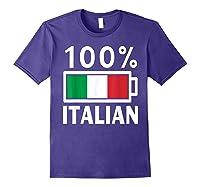 Italy Flag T Shirt 100 Italian Battery Power Tee Purple