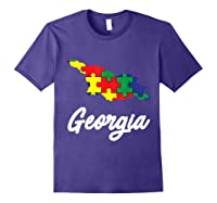 Autism Awareness Day Georgia Puzzle Pieces Gift Shirts Purple