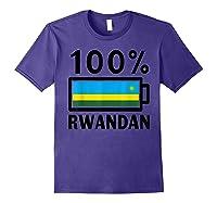Rwanda Flag T-shirt   100% Rwandan Battery Power Tee Purple