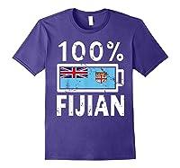 Fiji Flag T Shirt 100 Fijian Battery Power Tee Purple