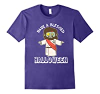 Have A Blessed Halloween Funny Zombie Jesus Halloween Shirts Purple