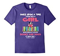 Funny There Was A Girl Who Really Loved Books Dogs Librarian Premium T Shirt Purple