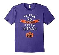 Halloween Pregnancy Announcet Tshirt Pumpkin April 2019 Purple