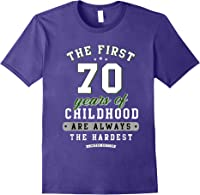 70th Birthday Funny Gift Life Begins At Age 70 Years Old T-shirt Purple