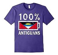 Antigua Barbuda Flag Shirt 100 Antiguans Battery Power Purple