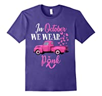 October Breast Cancer Awareness Month Pumpkin Vintage Truck T Shirt Purple