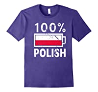 Poland Flag T Shirt 100 Polish Battery Power Tee Purple