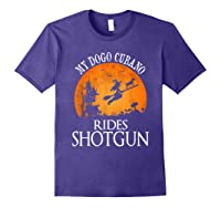 Dogo Cubano Rides Shotgun Dog Lover Halloween Party Gift T-shirt Purple