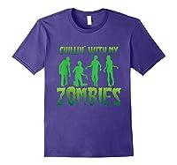 Chillin' With My Zombies Halloween Zombie Apocalypse Gift Shirts Purple