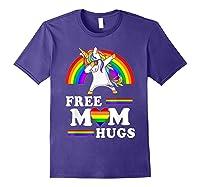 Free Mom Hugs Unicorn Lgbt Pride Rainbow Gift Shirts Purple