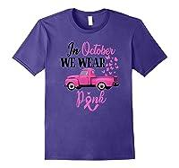 October Breast Cancer Awareness Month Pumpkin Vintage Truck Premium T Shirt Purple