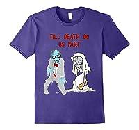 Zombie Bride Groom Hallowedding Halloween Wedding Costume Shirts Purple