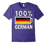 Germany Flag T Shirt 100 German Battery Power Tee Purple