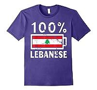 Lebanon Flag T Shirt 100 Lebanese Battery Power Tee Purple