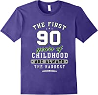 90th Birthday Funny Gift Life Begins At Age 90 Years Old T-shirt Purple