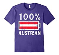 Austria Flag T Shirt 100 Austrian Battery Power Tee Purple