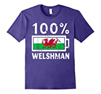 Wales Flag T Shirt 100 Welshman Battery Power Tee Purple