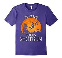 Jonangi Rides Shotgun Dog Lover Halloween Party Gift T-shirt Purple