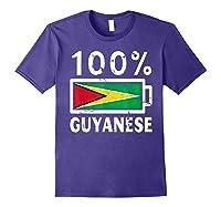 Guyana Flag T Shirt 100 Guyanese Battery Power Tee Purple