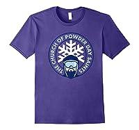 Church Of Powder Day Saints Royal Emblem Skiing Shirt Purple