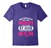 I Was Raised By Mine I Wear Pink For My Mom Breast Cancer T Shirt Purple