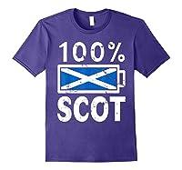 Scotland Flag T Shirt 100 Scot Battery Power Tee Purple