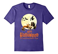 Happy Halloween With Extraordinary Dogs And Cats T Shirt Purple